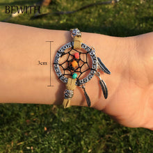 Multicolor Mini Dreamcatcher Women Pendant Gifts Bohemian Charm Handmade Dream Catcher with Leather&Alloy&Natural Stone BW020