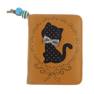Handbags Printing Odd Tail Cat Purse Short Wallet Bags Lady PU Handbags Versatile Card Holder sacoche homme