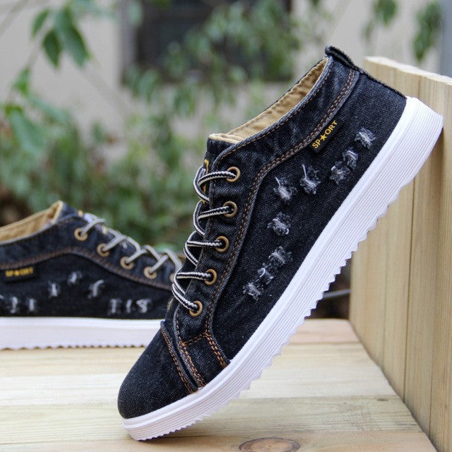 Fashion Breathable High-top Cowboy Men Canvas Shoes Denim Sewing Flat Shoes Casual Flats Man Shoes Casual Leisure Large Size