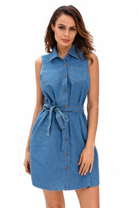 Dark Wash Belted Denim Shirt Dress