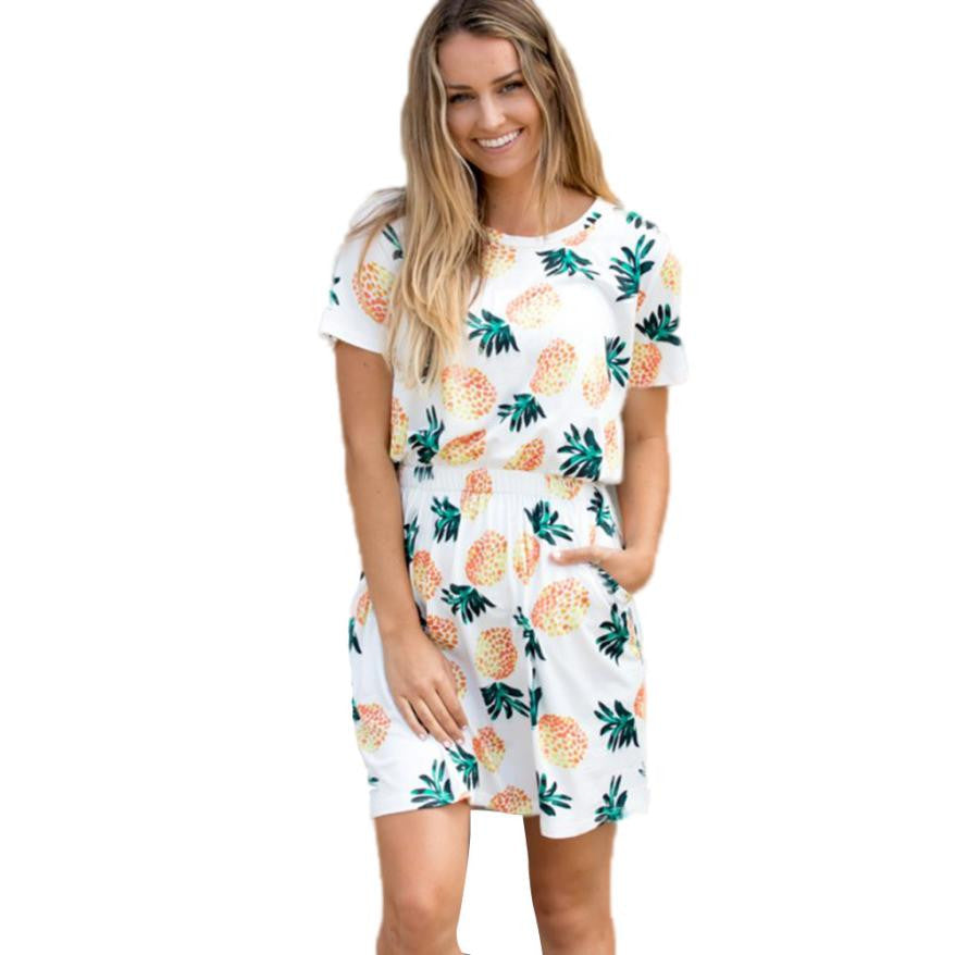 High Quality Women Pineapple Print Short Sleeve Split 2 Piece Set Casual Short Skirt Casual Clothes