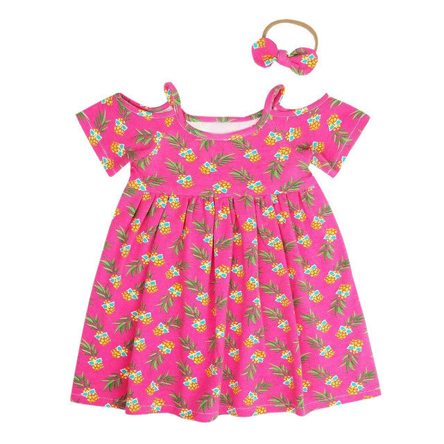 2017 Kids Baby Girls Cotton Casual Drees Set Toddler Kids Baby Girls Pineapple Print Princess Dress Outfits Clothes Sundress