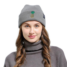 European Style Pineapple Embroidered Men Women Baggy Wool Knit Ski Beanie High Quality Unisex Novelty Hat Fold Thick Female Cap