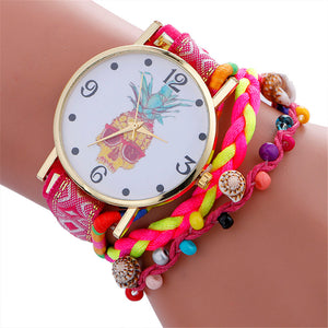 Stylish Pineapple Printing Leather Bracelet Lady Womans Wrist Watch