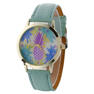 Neutral Pineapple Pattern Fashion Leather Quartz Wrist Watch