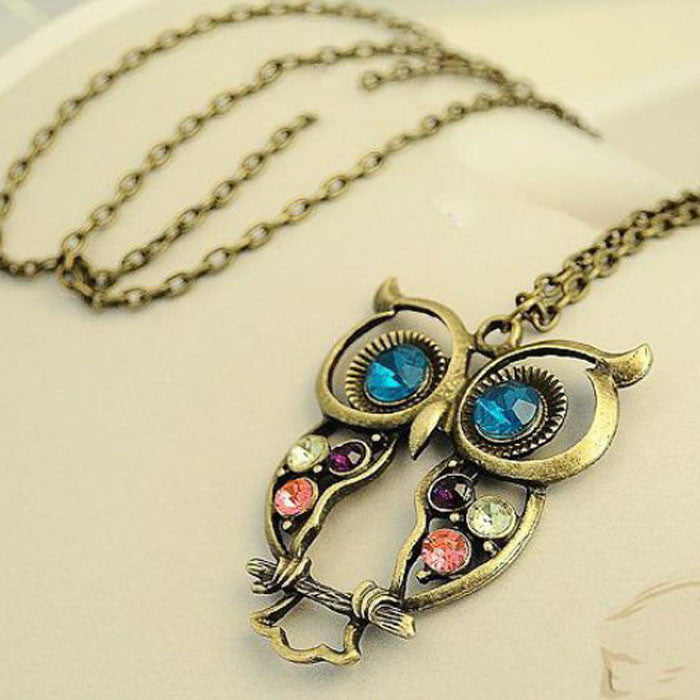 Lady Crystal Blue Eyed Owl Long Chain Pendant Sweater Coat Necklace