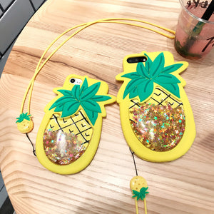 Cute 3D Pineapple Liquid Quicksand Stars Case for iphone 7 6 6s Plus Cover Funny Squishy Soft Silicone Phone Cases With Lanyard