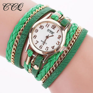 CCQ Luxury Brand Vintage Leather Bracelet Watch Men Women Wristwatch