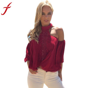 Summer Beach Wear Halter Blouse 2017 Womens Off Shoulder Red Lace Splice Shirt Loose Chiffon Red Tops Shirt
