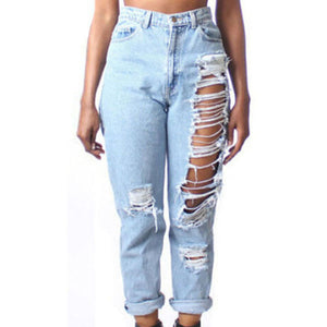 Womens Bleached Ripped High Waist Jeans Destructed Hole Denim Trousers