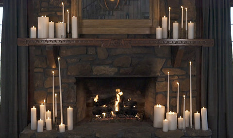 Mantle decorated with candles