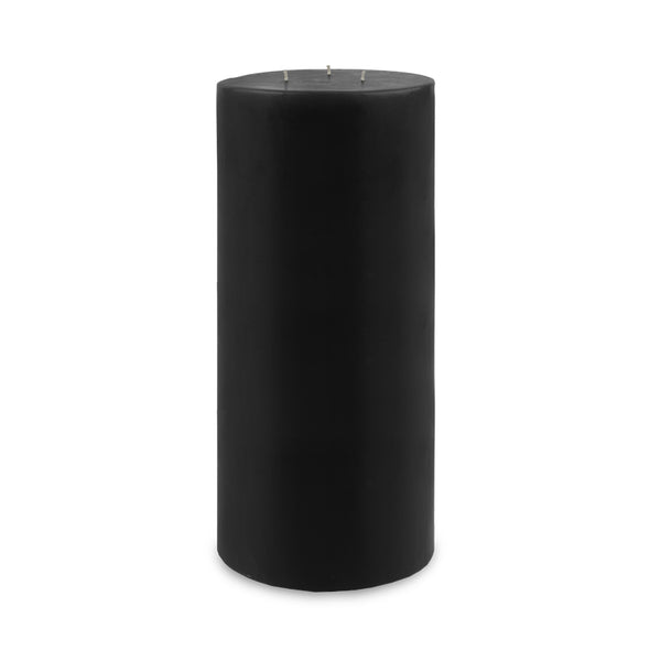 "Contemporary 3-Wick Pillar Candle 6"" x 12"" Black"
