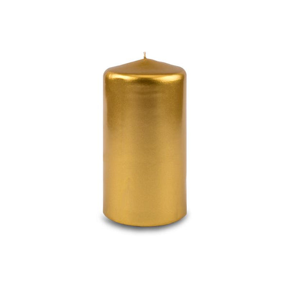 "Metallic Pillar Candle 3"" x 6"" - Metallic Gold"