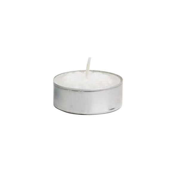 Tealight Candle - White in Metal Cup - 10/box