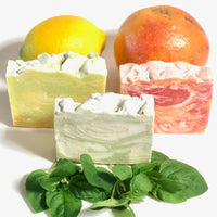 Shay Candles and Soaps Handmade Vegan Soaps.  Lemon a Twist, Grapefruit Splash, Basil Harvest.