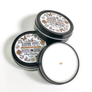 "Poppy Flowers, Grass, Woods Scented Candle ||Set of Three 2oz Travel Tins ||""Blooming Poppies"""""