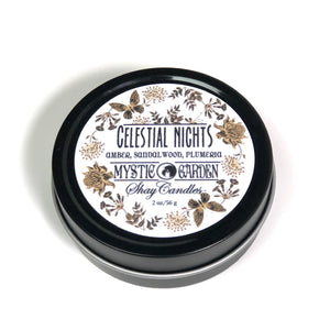 "Amber, Sandalwood, Plumeria Scented Candle ||Set of Three 2oz Travel Tins ||""Celestial Nights"""