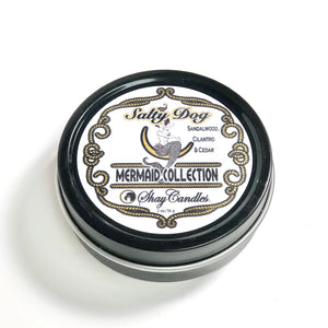 "Sandalwood, Cilantro, Cedar Scented Candles ||Set of Three 2oz Travel Tins ||""Salty Dog"""
