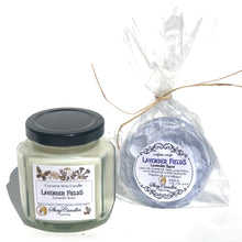 Lavender Fields Spa Set.  6oz Coconut Wax Candle and 4oz Vegan Soap. The scent of fresh Lavender Blossoms.