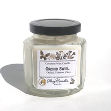 Orchid Swirl 6oz Coconut Wax Candle. Sophisticated scent blend of orchid, tuberose, clove.