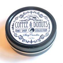 "Coffee, Donuts Scented Candles ||Coconut Wax ||Set of Three 2oz Travel Tins ||""Coffee and Donuts"""