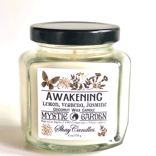 "Lemon, Verbena, Jasmine Scented 6oz Candle| ||Coconut W ||""Awakening"""