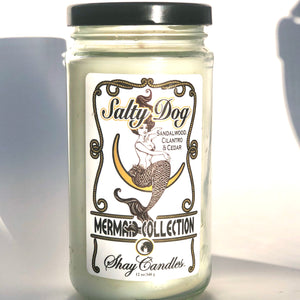 "Sandalwood, Cilantro, Cedar Scented Coconut Wax Candle 12oz  ||""Salty Dog"""
