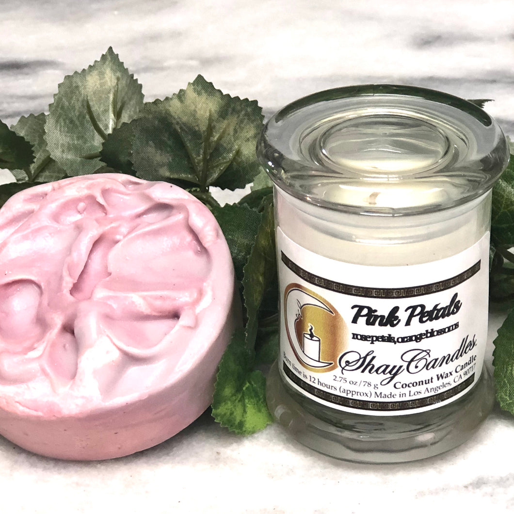 "Rose Petals &Orange Blossoms  4ozSoap, 2.75ozCandle ||""PINK PETALS"""