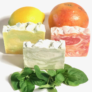 "Basil, Grapefruit, Lemon Vegan Soap Set ||""FARMER'S BASKET"""