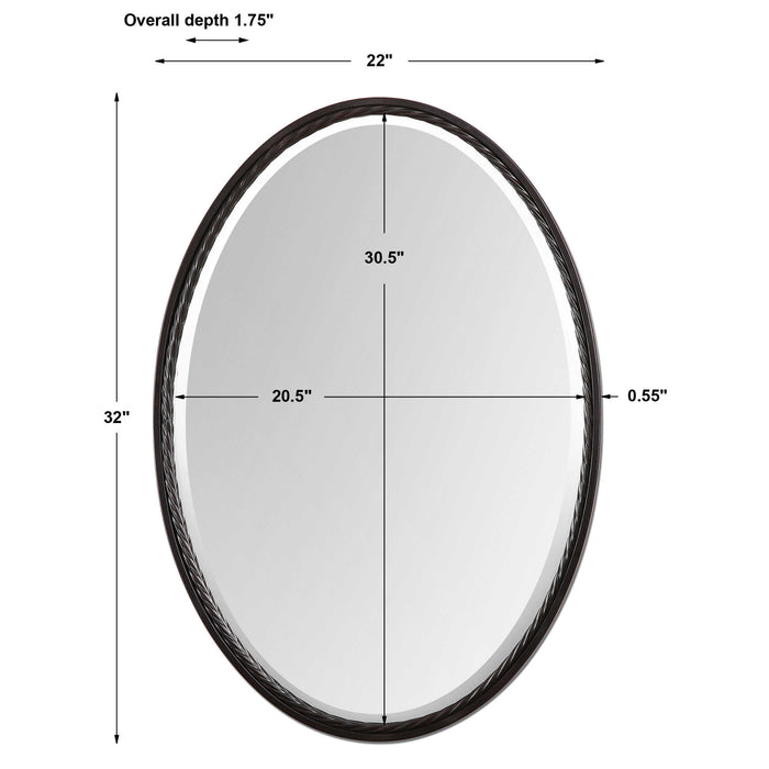 Uttermost Casalina Oil Rubbed Bronze Oval Mirror | Decorative Bronze Oval Wall M