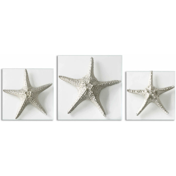 Uttermost 1129 Silver Starfish Wall Art Set of 3