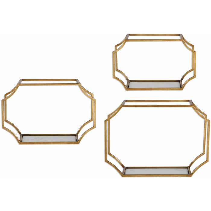 Uttermost 4048 Lindee Gold Wall Shelves Set of 3
