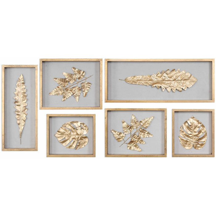 Uttermost 4074 Golden Leaves Shadow Box Wall Art Set of 6