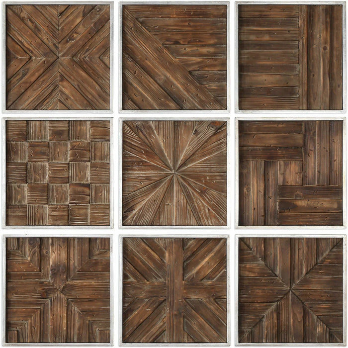 Uttermost 4115 Bryndle Rustic Wooden Squares Wall Art Set of 9