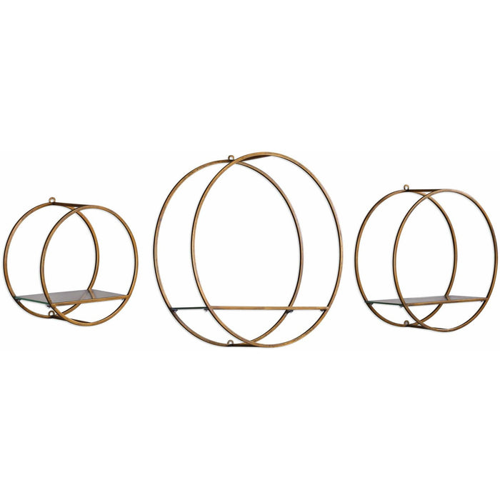 Uttermost 4117 Ellison Drum Cage Circular Wall Shelves Set of 3