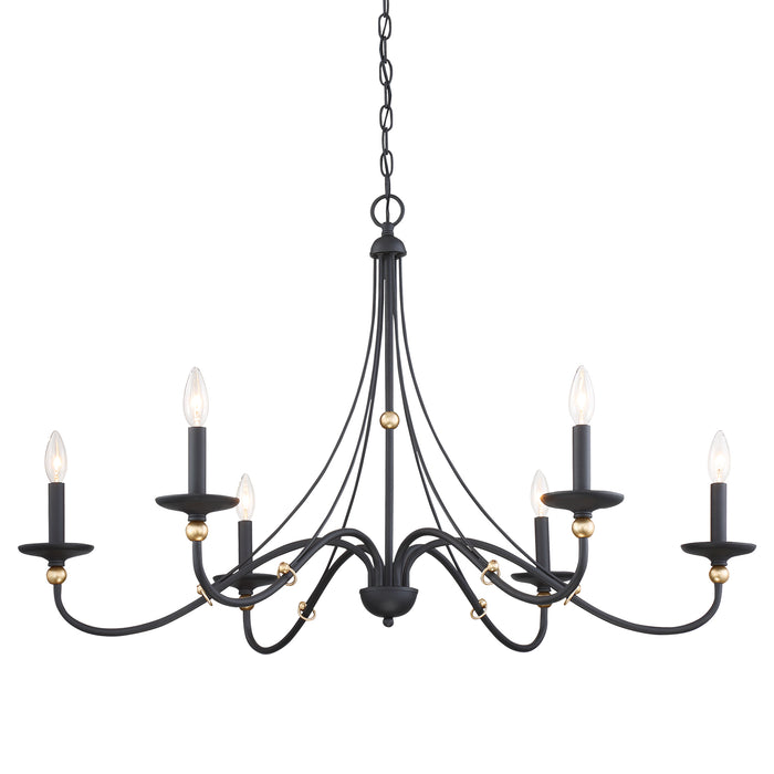 "Minka Lavery Westchester County - 6 Light - 40"" Chandelier in Sand Coal with Skyline Gold Leaf (Chandelier 40 in W x 24 in H)"