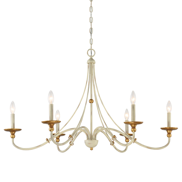 "Minka Lavery Westchester County - 6 Light - 40"" Chandelier in Farmhouse White with Gilded Gold Leaf (Chandelier 40 in W x 24 in H)"