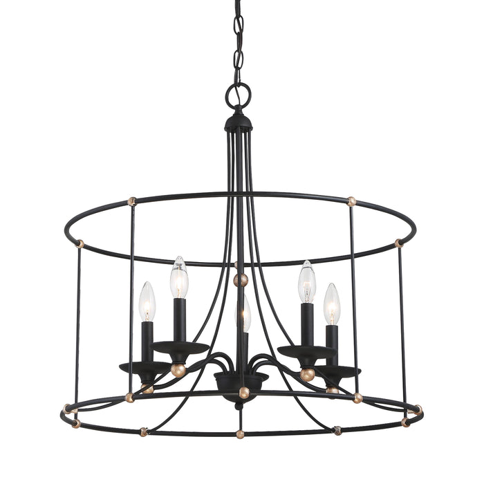 "Minka Lavery Westchester County - 5 Light - 25"" Chandelier in Sand Coal with Skyline Gold Leaf (Chandelier 25 in W x 24 in H)"