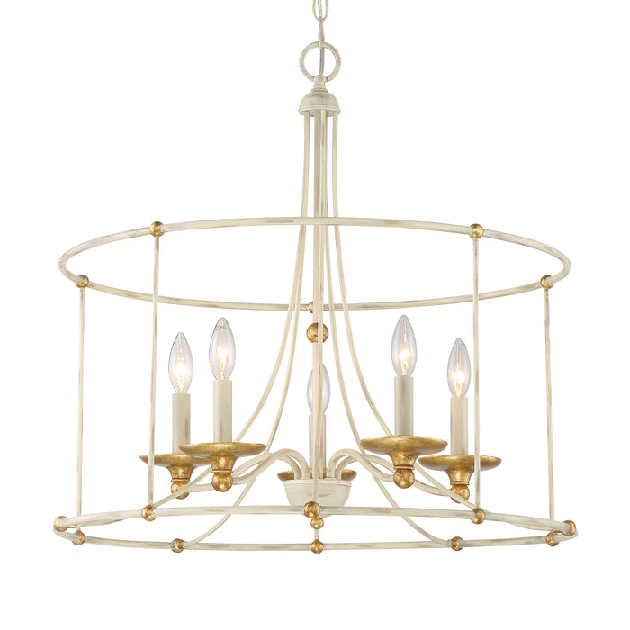 "Minka Lavery Westchester County - 5 Light - 25"" Chandelier in Farmhouse White with Gilded Gold Leaf (Chandelier 25 in W x 24 in H)"