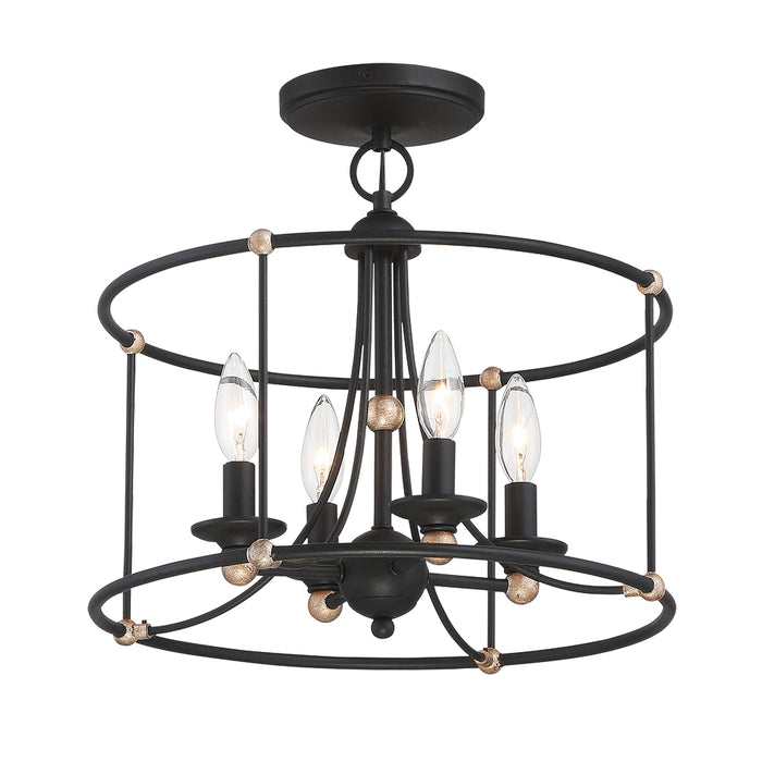Minka Lavery Westchester County - 4 Light Semi Flush in Sand Coal with Skyline Gold Leaf (Chandelier 15.75 in W x 14.875in H)