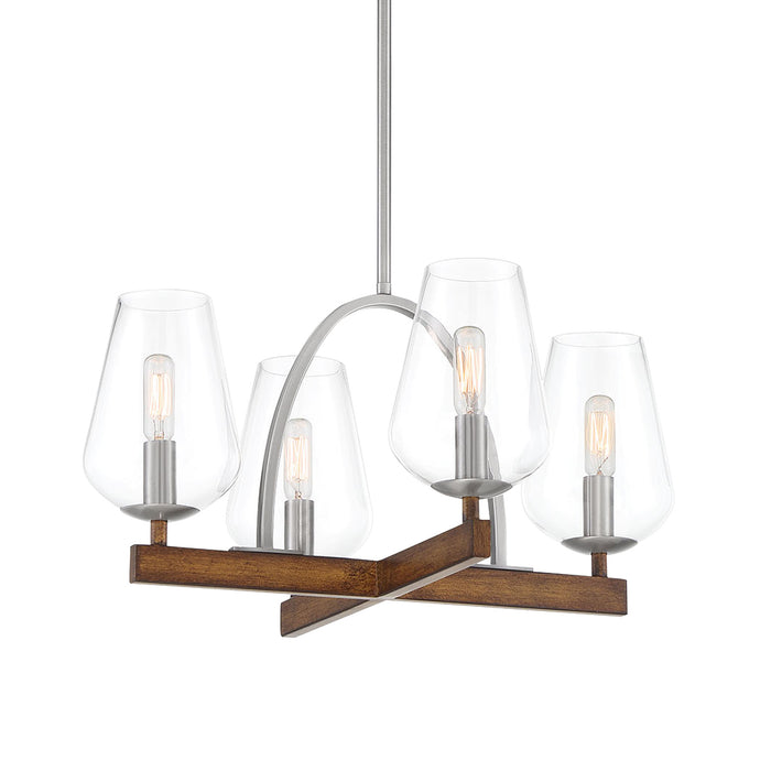 Minka Lavery Birnamwood - 4 Light Chandelier Convertible to Semi-Flush with Koa Wood and Pewter Finish (Chandelier  in W x  in H)