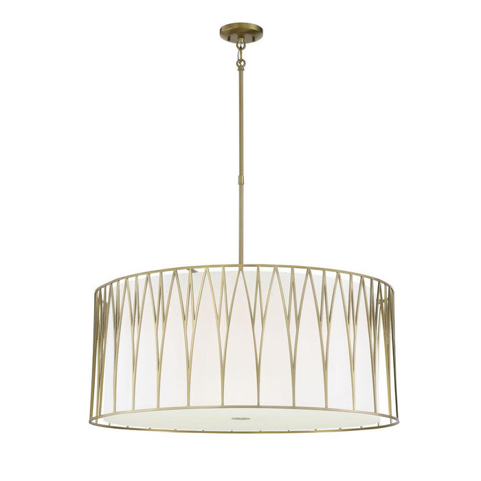 Minka Lavery Regal Terrace 6 Light LED Pendant with Soft Brass Finish (Pendant 32 in W x 27 in H)