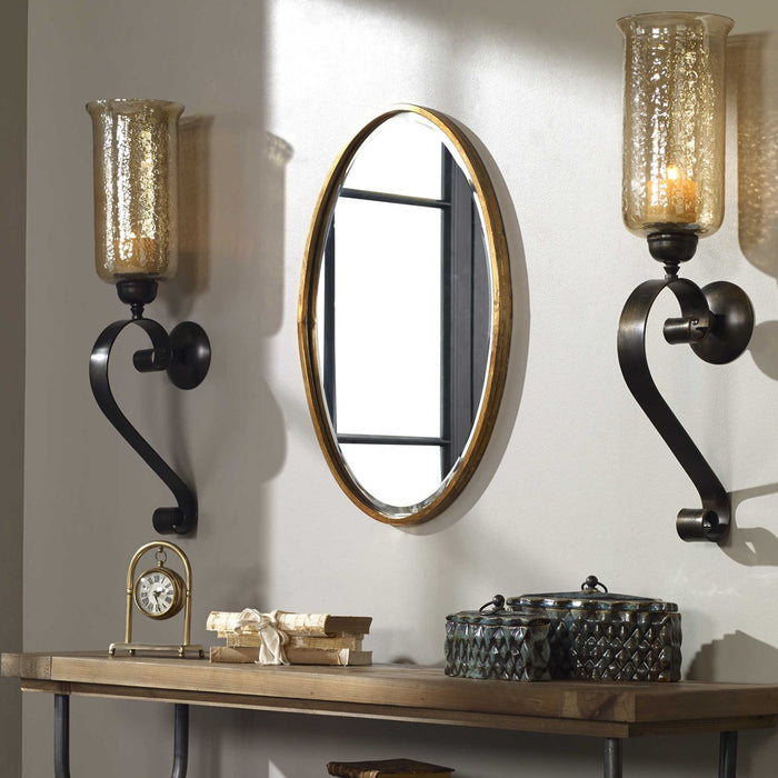 Uttermost 12894 Herleva Gold Oval Mirror - ALCOVE LIGHTING