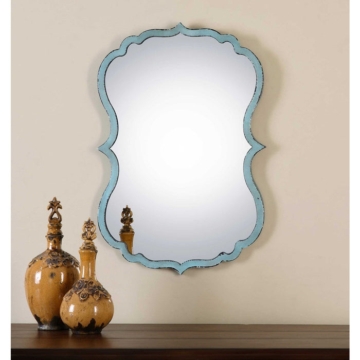 Uttermost 13925 Nicola Light Blue Mirror - ALCOVE LIGHTING