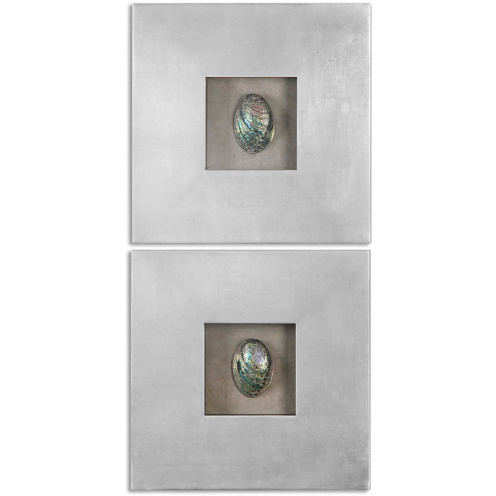 Uttermost 14544 Abalone Shells Silver Wall Art Set of 2