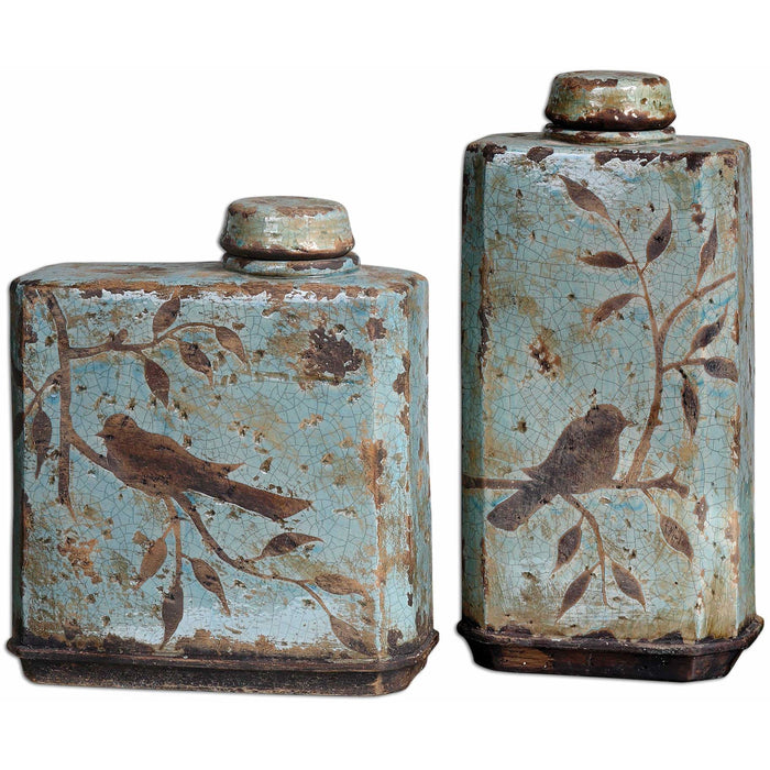 Uttermost 19547 Freya Light Sky Blue Containers