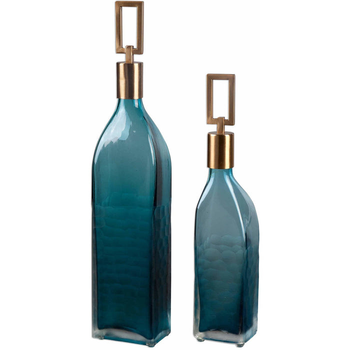 Uttermost 20076 Annabella Teal Glass Bottles