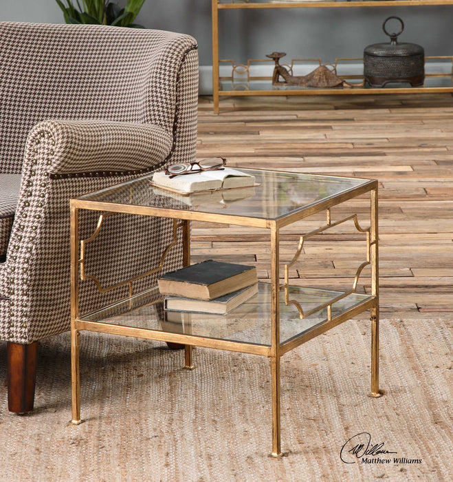 Uttermost Genell Cube Table | Traditional Antique Gold Leaf Cube Table