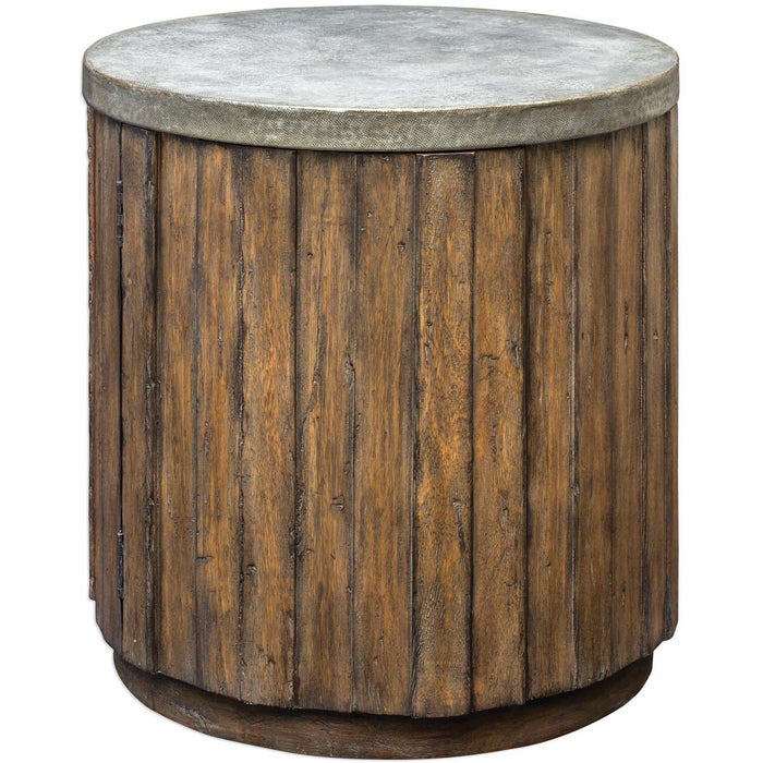 Uttermost 25779 Maxfield Wooden Drum Accent Table