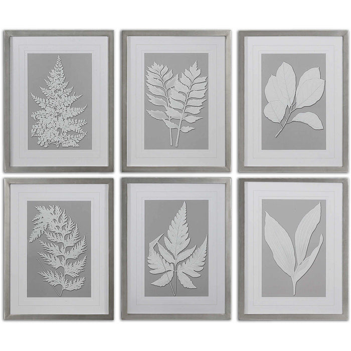Uttermost 41394 Moonlight Ferns Framed Art Prints Set of 6
